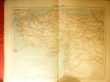 Harta Turciei Asiatice -Ed. Hachette 1906 gravor Erhard,dim.=42x39 cm