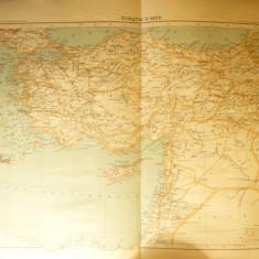 Harta Turciei Asiatice -Ed. Hachette 1906 gravor Erhard, dim.=42x39 cm