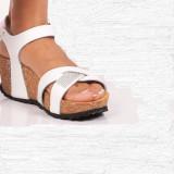 Sandale albe platforma, piele naturala cu strasuri, mar 37