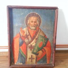 ICOANA VECHE-SFANTUL NICOLAE-PICTURA PE LEMN-INCEPUT DE SECOL XX - Icoana pe lemn