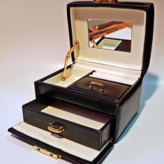 Cutie caseta bijuterii piele neagra - Cutie Bijuterii
