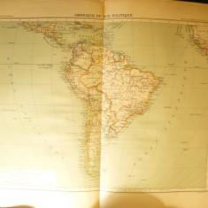 Harta Politica - America de Sud -Ed. Hachette 1906, dim.= 39x42 cm