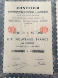 10 000 Franci actiune CONTIFOM Franta la purtator cu cupoane