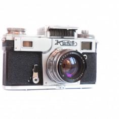 Aparat foto rangefinder Kiev cu obiectiv 50mm f2 stare buna cu defect - Aparate Foto cu Film Carl Zeiss
