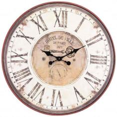 Ceas de perete Hotel de Ville din lemn diametru 80 cm
