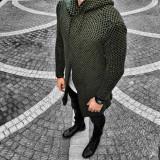 Cardigan pentru barbati, verde, slim fit, lung, bumbac - BB-antrazit, L, M