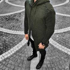 Cardigan pentru barbati, verde, slim fit, lung, bumbac - BB-antrazit - Pulover barbati, Marime: S, M, L, XL