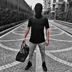 Tricou pentru barbati, cu model, simplu, regular fit, casual, negru - BB18101
