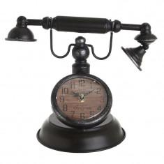 Ceas de masa/birou telefon metalic Antic negru