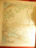 Harta Rusiei Europene si a Zonelor invecinate- inclus Romania -Ed.Hachette 1906