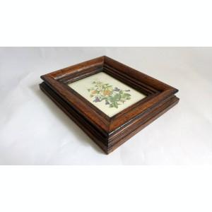 Tablou buchet flori (imparimat pe hartie), rama groasa de lemn, cu sticla