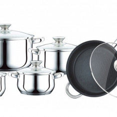 Set oale de gatit 12 piese inox, Peterhof + Cutit ceramic 17 cm Cadou