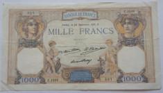 FRANTA 1000 FRANCS FRANCI CERES ET MERCURE 24-09-1931 F foto