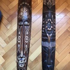 Masti vechi, balineze, in basorelief, dimensiuni mari, sculptate, in lemn, pictat - Arta din Africa