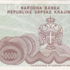 CROATIA 500.000 dinara 1993 KNIN VF+!!! - bancnota europa