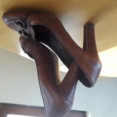 Pantofi Zara originali - Pantof dama Zara, Culoare: Maro, Marime: 37, Cu toc