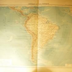 Harta Fizica - America de Sud -Ed. Hachette 1906 , dim.= 39x42 cm