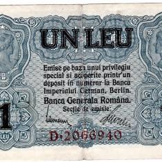 Bancnota 1 leu 1917 BGR VF+ - Bancnota romaneasca