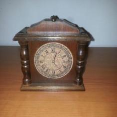 Suport pahare handmade din lemn/pluta in forma de ceas -6 bucati