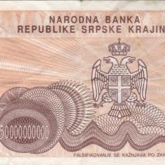 CROATIA 50.000.000.000 dinara 1993 KNIN VF!!! - bancnota europa