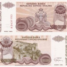 CROATIA 50.000.000.000 dinara 1993 KNIN UNC!!! - bancnota europa