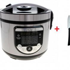 Multicooker multifunctional de gatit Zephyr, inox, 700W,18 programe + Cutit ceramic 17 cm Cadou