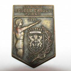 Insigna regalista-inaugurare CAROL II Ploiesti 1936 (Stadionul PETROLUL)