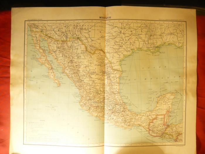 Harta Mexic Guatemala Honduras Englez Ed Hachette 1906dim