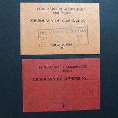 TICHET CARTELA ALIMENTE - CARNE SI OUA - MICROCASA DE COMENZI CLUJ - ANII 1980