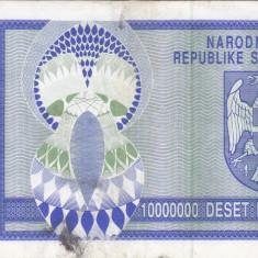 CROATIA 10.000.000 dinara 1993 KNIN VF!!! - bancnota europa