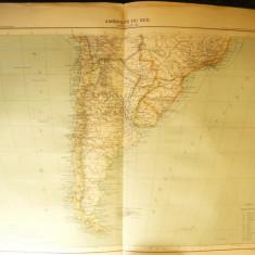 Harta America de Sud -Chile, Brazilia, Argen-.Ed. Hachette 1906, dim.= 39x42 cm