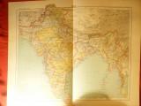 Harta Indiei -Ed. Hachette 1906 ,dim.=42x39 cm ,gravor Erhard ,autori F.Schrade