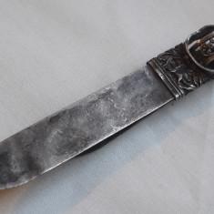 COUPE PAPIER argint DUBLU heraldica FILIGRAN superba VECHI Cutit Documente RAR, Ornamentale