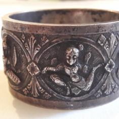 INEL argint SERVET de MASA vechi ZEITATI HINDUSE splendid SIAM exceptional RAR, Inel servetele
