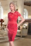 Rochie midi rosie din dantela, 40, 42, 44, Rosu