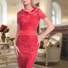 Rochie midi rosie din dantela - Rochie de seara, Marime: 40, 42, 44, Culoare: Rosu, Scurta