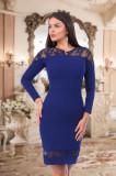 Rochie Albastra Cu Dantela, 36, 38, 40, 42, Albastru, Scurta