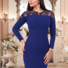 Rochie Albastra Cu Dantela - Rochie de seara, Marime: 36, 38, 40, 42, Culoare: Albastru, Scurta, Lunga