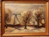 Tablou fara semnatura atribuit pictorului Nagy Istvan ulei pe carton, 70x50 cm, Peisaje, Cubism