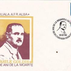 Bnk fil Plic ocazional Vasile Goldis 50 ani de la moarte AFR Alba 1984, Romania de la 1950, Oameni