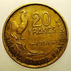 2.351 FRANTA 20 FRANCS FRANCI 1951, Europa, Bronz-Aluminiu
