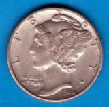 (A164) MONEDA DIN ARGINT SUA - ONE DIME 1944, FARA LITERA, MERCURY, America de Nord