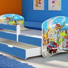 Set Patut Tineret cu sertar 164x85cm Pompieri + Saltea - Pat tematic pentru copii MyKids