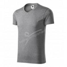 Tricou pentru barbati 3XL SLIM FIT V-NECK, Gri