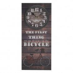 """Ceas de perete din lemn stil tablou """"Bicycle"""" 30 x 70cm"""