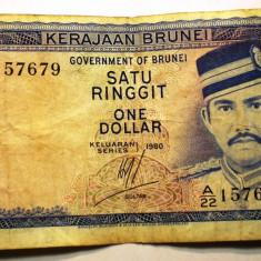 254 BRUNEI 1 ONE DOLLAR SATU RINGGIT 1980 SR. 679