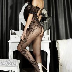 Catsuit Cu Deschizatura in Zona Intima Si Model Trandafir - Lenjerie sexy femei, Marime: Marime universala, Culoare: Negru