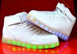 Adidasi de dama cu led leduri lumini luminite  Hi tops 36 37 38 39 40, 41, Piele sintetica