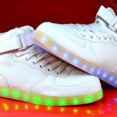Adidasi de dama cu led leduri lumini luminite Hi tops 36 37 38 39 40 - Adidasi dama, Culoare: Din imagine, Piele sintetica