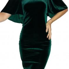 Rochie verde din catifea cu maneca evazata - Rochie de seara, Marime: 34, 36, 40, Culoare: Turcoaz, Scurta